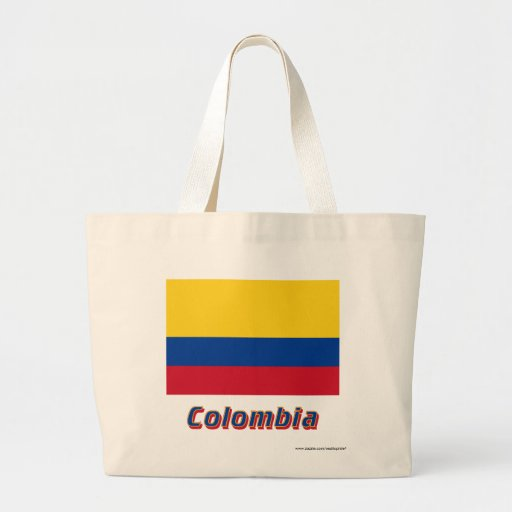 Colombia flagga med namn tote bags