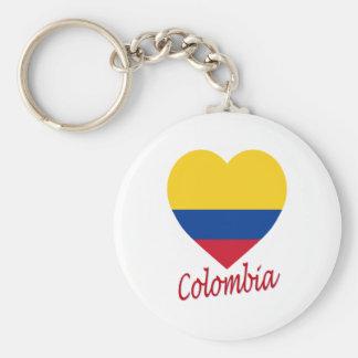 Colombia flaggahjärta rund nyckelring