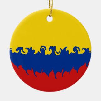 Colombia Gnarly flagga Rund Julgransprydnad I Keramik