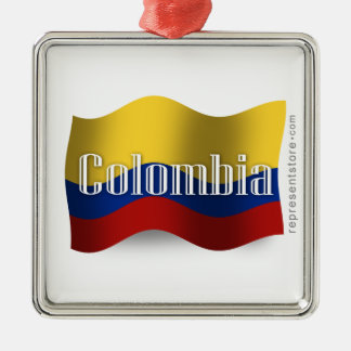 Colombia som vinkar flagga julgransprydnad metall