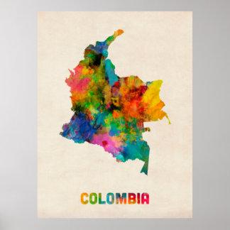 Colombia vattenfärgkarta poster