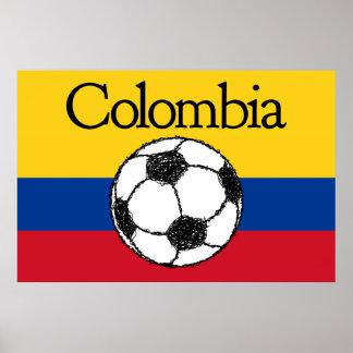 Colombiansk flagga med fotboll poster