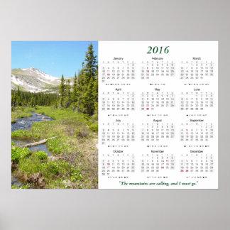 Colorado berg som kallar kalender 2016 poster