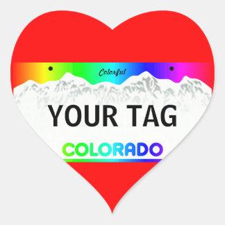 Colorado registreringsskylt - färgrik upplaga hjärtformat klistermärke
