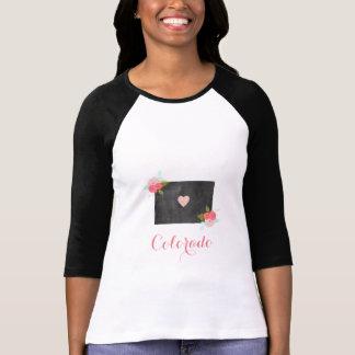Colorado statlig chic blommigt & rörlig hjärta tee shirt