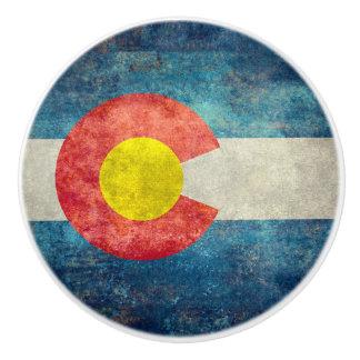 Colorado statlig flagga med retro grungy look för knopp