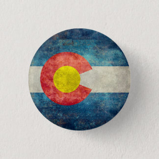Colorado statlig flagga med retro grungy look för mini knapp rund 3.2 cm