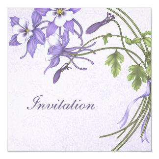 Columbine bröllopinbjudningar - metallisk fyrkantigt 13,3 cm inbjudningskort