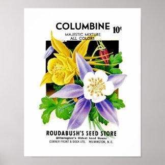 Columbine kärnar ur paketetiketten poster