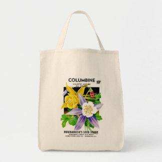 Columbine kärnar ur paketetiketten tygkasse