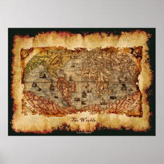 Columbus åldrades för kartakonst för den gammala poster