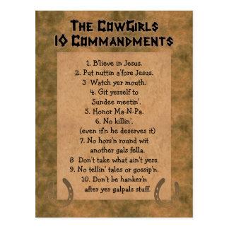 CommandmentsVYKORT för Cowgirls 10 Vykort