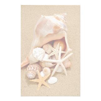 Conchsnäcka med snäckor och sjöstjärnan brevpapper