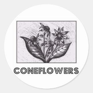 Coneflowers Runt Klistermärke