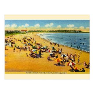 Connecticut för vintageFairfield strand vykort