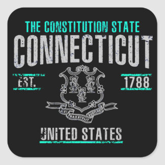 Connecticut Fyrkantigt Klistermärke