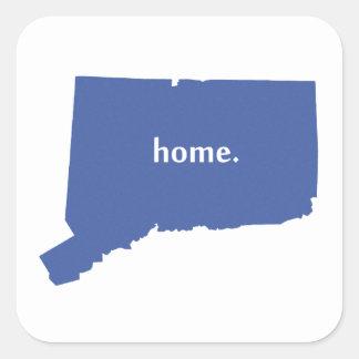 Connecticut hemblått fyrkantigt klistermärke