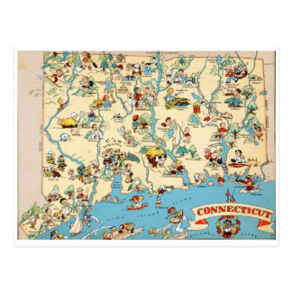 Connecticut rolig vintagekarta vykort