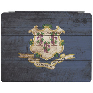 Connecticut statlig flagga på gammalt Wood korn iPad Skydd