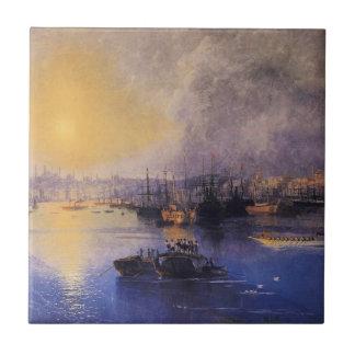 Constantinople solnedgång av Ivan Aivazovsky Kakelplatta