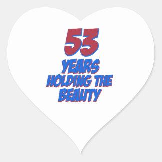 coola 53 år gammala födelsedagdesigner hjärtformat klistermärke
