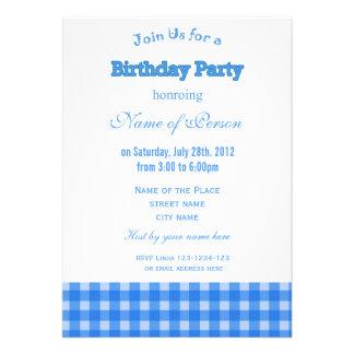 Coola födelsedagsfest för pläd för anpassade inbjudningskort