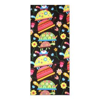 coola och färgrikt mönster med turttles 10,2 x 23,5 cm inbjudningskort