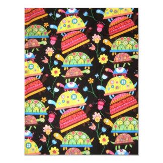 coola och färgrikt mönster med turttles 10,8 x 14 cm inbjudningskort