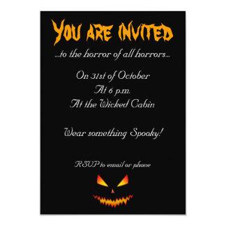 Coola och läskigt jackO'Lantern ansikte Halloween 12,7 X 17,8 Cm Inbjudningskort