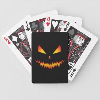 Coola och läskigt jackO'Lantern ansikte Halloween Spelkort