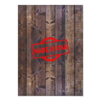 Coola som göras i USA-träbakgrund 12,7 X 17,8 Cm Inbjudningskort