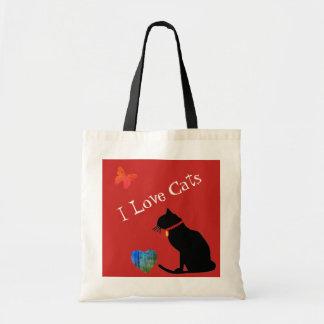 Coolan älskar jag röda katter och grafisk toto för tygkasse