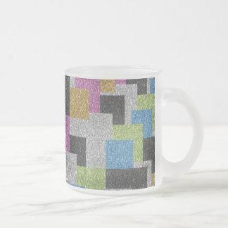 Coolan kvadrerar formar abstrakt konstglittersken frostad glasmugg