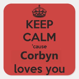 Corbyn älskar dig fyrkantigt klistermärke