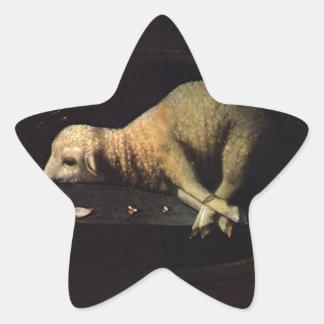 Cordeiro Pascal av Josefa de Obidos Stjärnformat Klistermärke