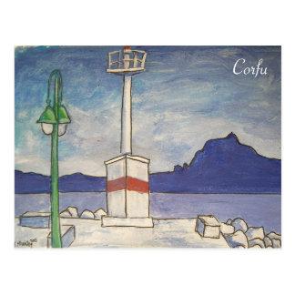 Corfu gammal fästningvykort vykort