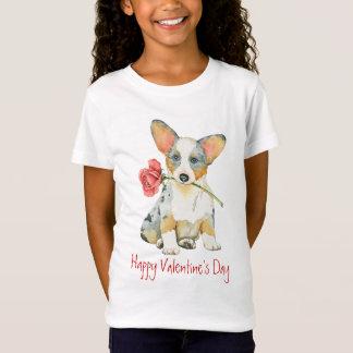 Corgi för rosa kofta för valentin walesisk t-shirt