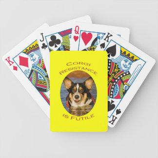 Corgimotstånd är fruktlöst med gul bakgrund spelkort