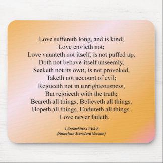 Corinthians för kärlek 1 kondenserad 13-4 musmatta
