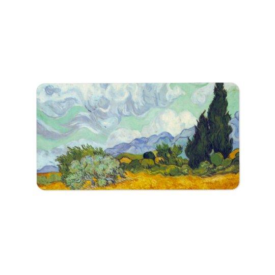 Cornfield med Cyprusses av Vincent Van Gogh Adressetikett