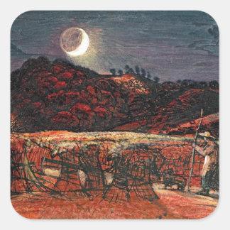 Cornfield vid månsken, 1830 fyrkantigt klistermärke