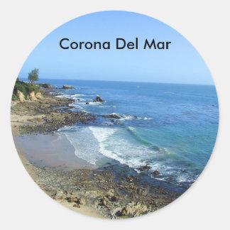 Corona del Mar Kalifornien strandklistermärkear Runt Klistermärke