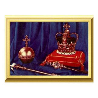 Coronationregalier av drottningen Elizabeth II Vykort