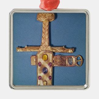 Coronationsvärd av kungarna av frankriken silverfärgad fyrkantigt julgransprydnad