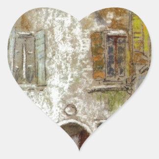 Corte del Paradiso vid James McNeill Whistler Hjärtformat Klistermärke