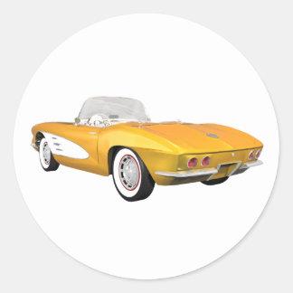 Corvette 1961 C1: Gult fullföljande: Runt Klistermärke