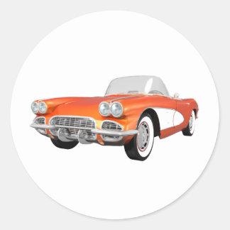 Corvette 1961 C1: Orange fullföljande: Runt Klistermärke