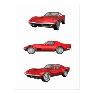 Corvette 1970: Rött fullföljande Vykort
