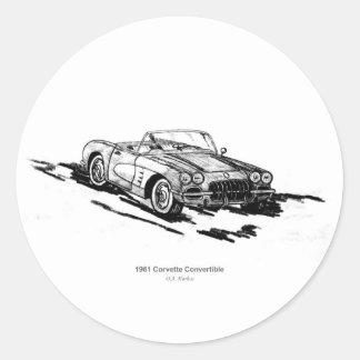 Corvette cabriolet 1961 runt klistermärke