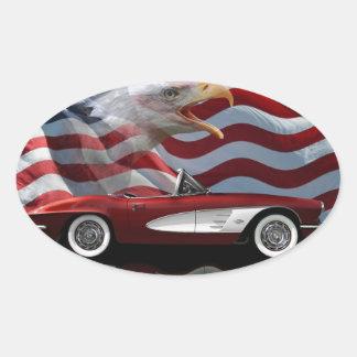 Corvette Tribute 1961 Ovalt Klistermärke